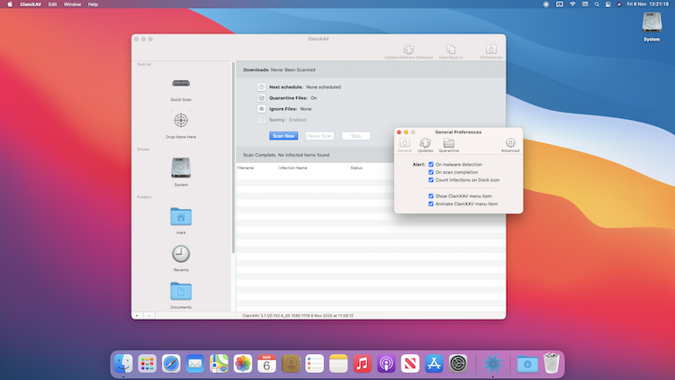 ClamXAV running in macOS 11